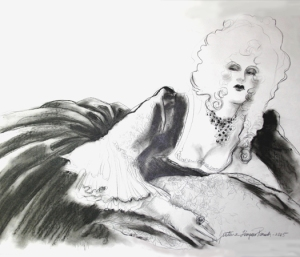 Marie Antoinette - charcoal - from a live model