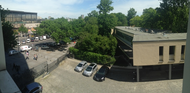 the view of the Zoo, Tiergarten and Metro station from our studio