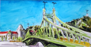 Freedom Bridge-Tombow pen & waterbrush